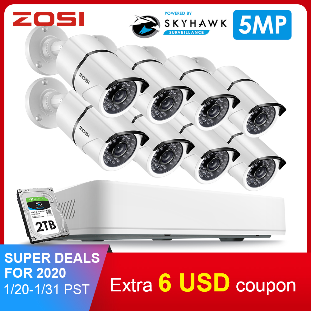 ZOSI 8CH HD 5.0MP H.265+ Security Camera System With 8 X 5MP 2560*1920 Outdoor/ Indoor CCTV Surveillance Camera 2TB Hard Drive