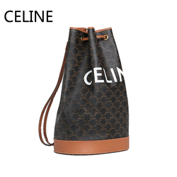 Сельин Холст Drawstring ведро Матросская сумка регулируемый кожаный ремешок Наплечные сумки для женщин 191532BZK.04LU