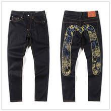 Novas prateleiras de alta qualidade moda casual hip hop calças jeans bordados impressão masculina autêntica respirável calças retas