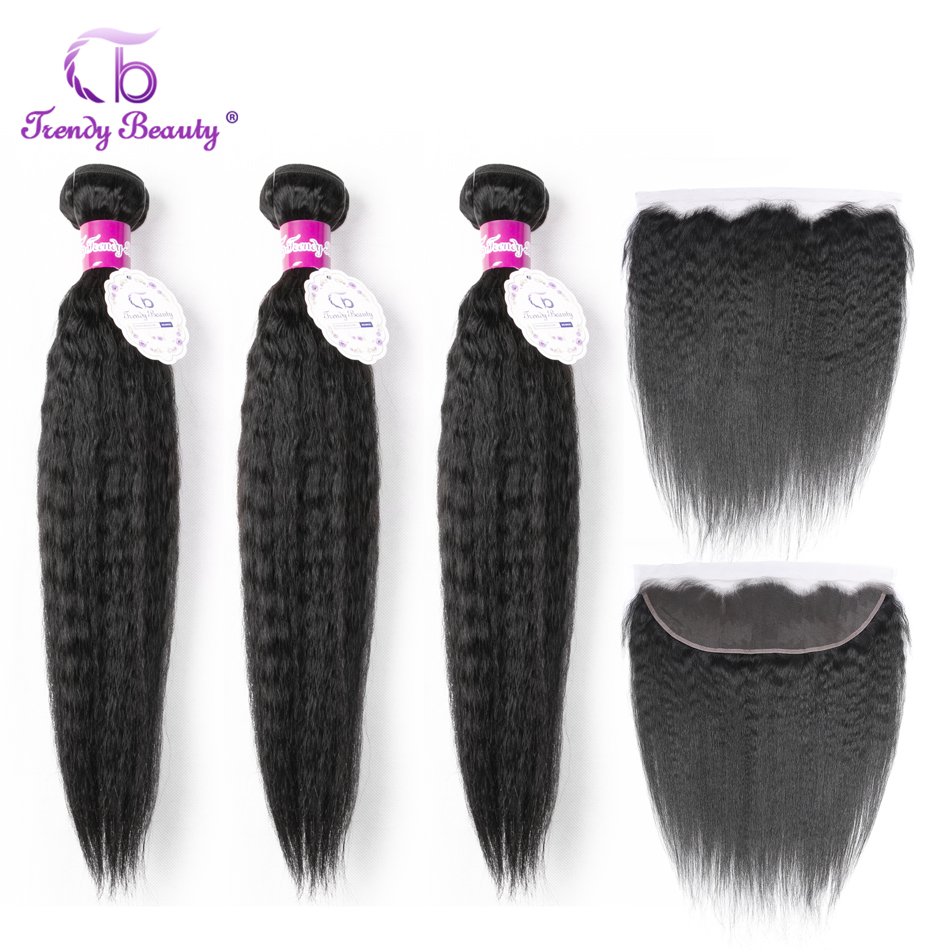 Trendy Beauty Peruvian Kinky Straight Bundles With Frontal 2/3Bundles With 13x4 Ear To Ear Frontal Closure Non-remy Human Hair