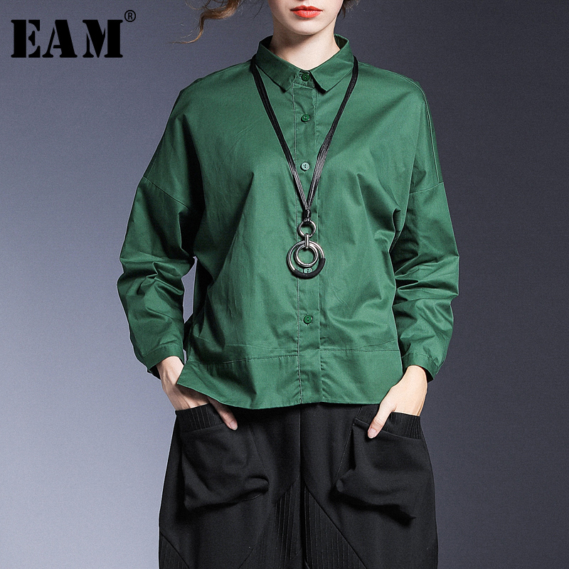 [EAM] Women Back Long Causal Blouse New Lapel Long Sleeve Loose Fit Shirt Fashion Tide All-match Spring Autumn 2020 1A035
