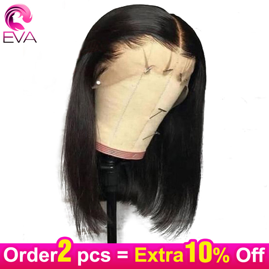 13x6 Short Lace Front Human Hair Wigs Pre Plucked Straight Bob Lace Front Wigs With Baby Hair Brazilian Remy Hair Eva Lace Wigs