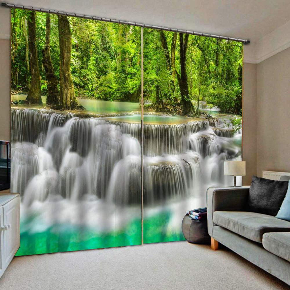 Nature scenery landscape curtains green curtain 3D Curtain Luxury Blackout Window Curtain Living Room blackout curtains