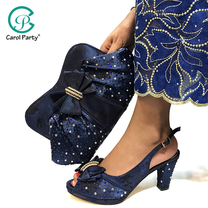 High Quality Dark Blue Color African Designer Shoes And Bag Set To Match Italian Party Shoes With Matching Bags Set