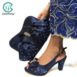 Hohe Qualität dunkelblau Farbe Afrikanische Designer Schuhe Und Tasche Set Zu Spiel Italienische Partei Schuhe Mit Passenden Taschen Set
