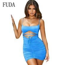 FUDA New Arrivals Hollow Out Bandage Dress Sexy Spaghetti Straps Sleeveless Summer Bodycon Slim Dress Women Club Vestidos цена и фото