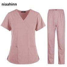 Uniforms Nurse Women Thin and Light Fabric Short Sleeve Medical Clothes Scrubs Nursing Pants Elastic Medical Uniforms for Summer