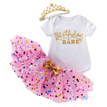 Newborn Baby Summer Girl Dress First 1st Birthday Princess Outfits Clothing 3pcs Sets Romper Tutu Skirt Headband Infant Suits brilliant sequins burgundy lace petti romper dress headband newborn tutu sets baby girl summer clothes toddler girl clothing