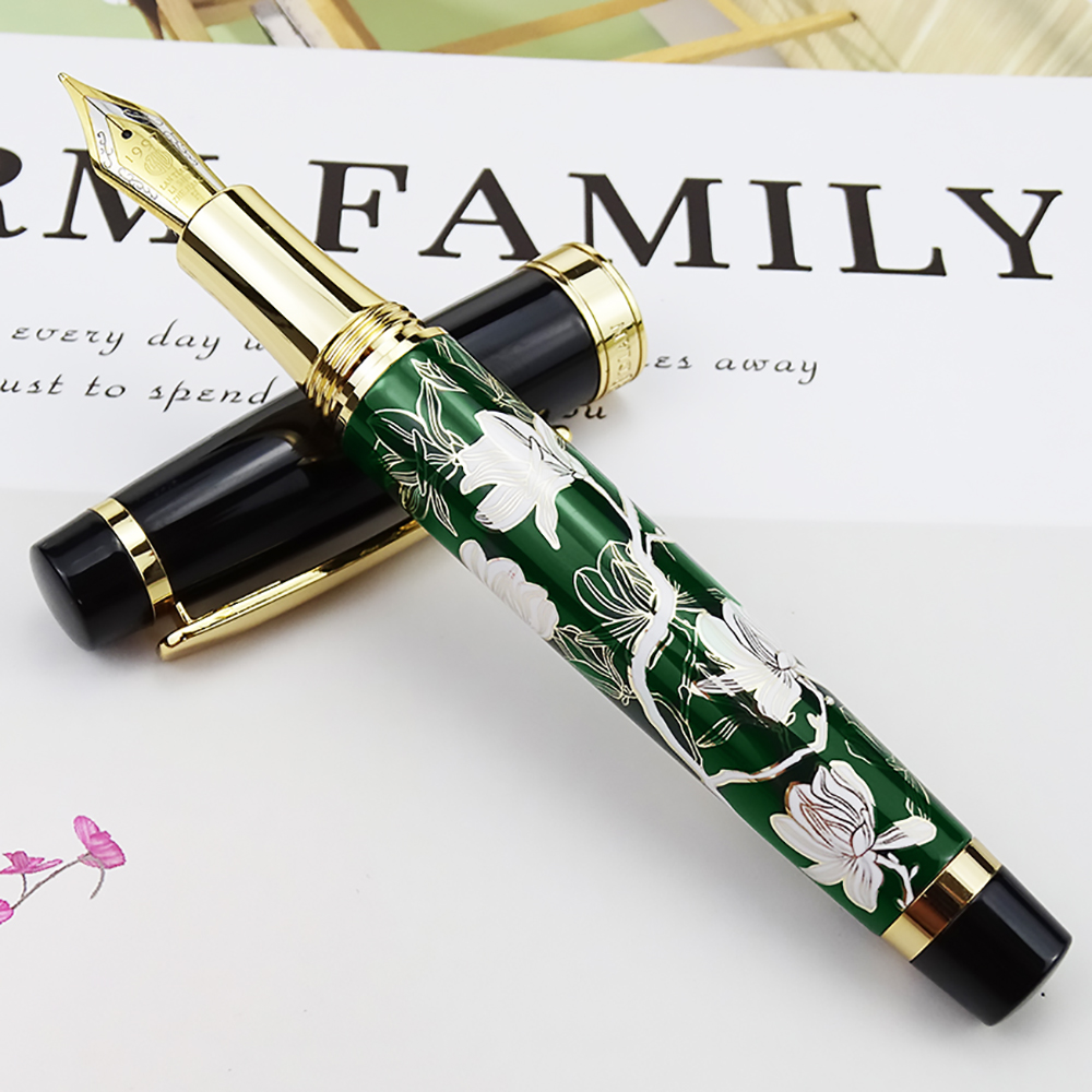 HongDian Metal Fountain Pen Hand Drawing Green Flowers Iridium Fine / Bent Nib Ink Pen Excellent Writing Gift Pen for Business-in Fountain Pens from Office & School Supplies