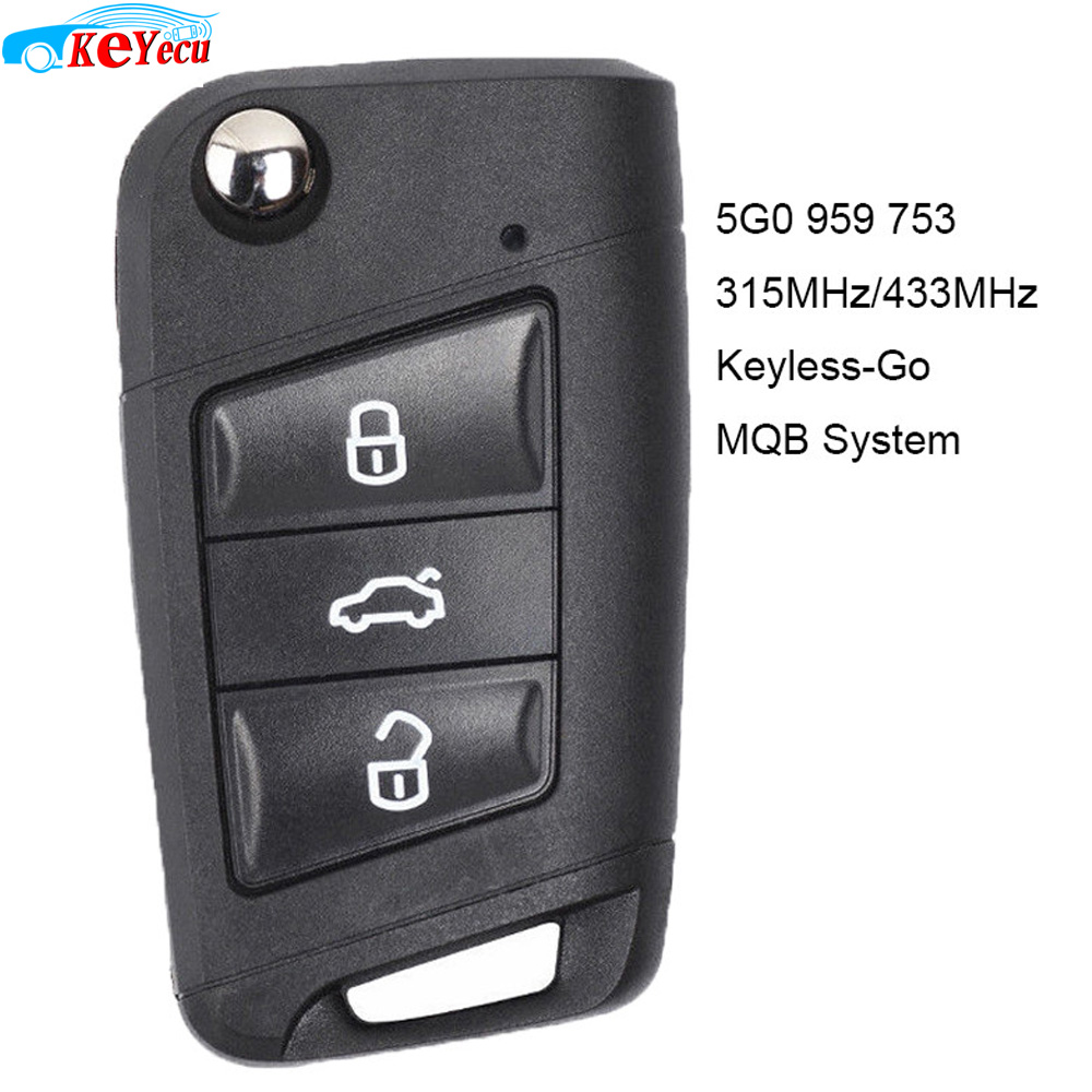 KEYECU Keyless-Go MQB System Smart <font><b>Remote</b></font> <font><b>Key</b></font> 315MHz OR 434Mhz ID48 for Volkswagen <font><b>Golf</b></font> <font><b>7</b></font>,Tiguan 2014-2018 FCC: 5G0 959 753 image