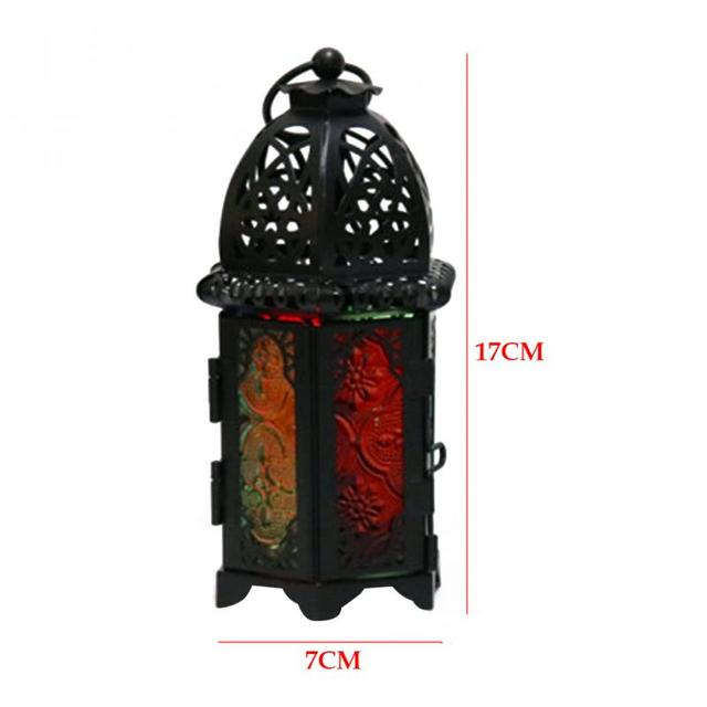 Vintage Moroccan Windproof Candle Holders Hanging Candle Lantern Iron Glass Votive Candlestick Wedding Decor Party Home 7*17cm 6