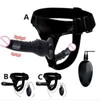 Doppio pene Dildo realistici Strapon cinturino Ultra elastico cinturino su vibratore grande Dildo giocattoli adulti del sesso per donna lesbica