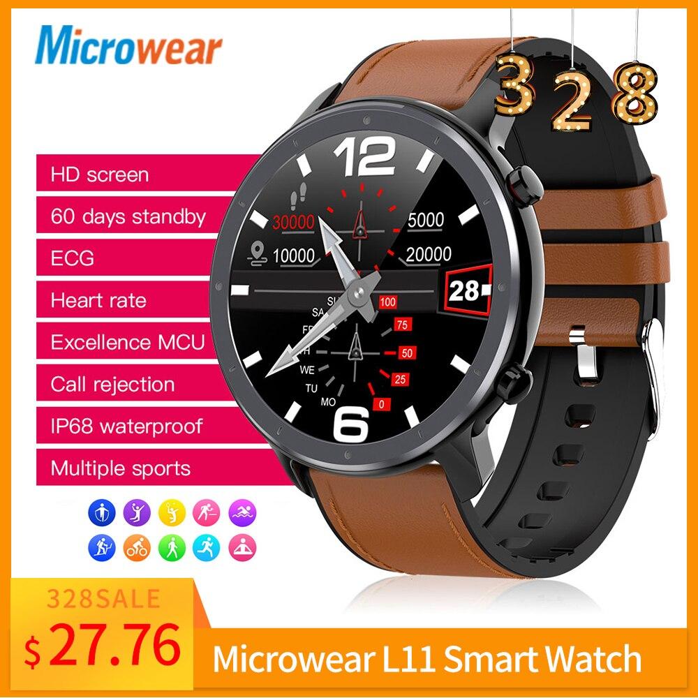 Smartwatch Microwear L11 Smart Watch Full Touch Screen Sport Tracker Heart Rate Bluetooth Waterproof IP68 High Definition Screen