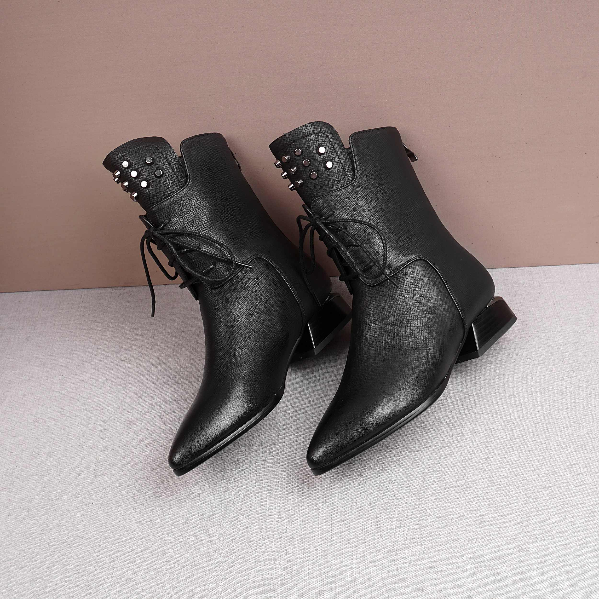 Image 5 - Krazing Pot solid rivets lace up genuine leather pointed toe med  heels mature women leisure fashion cozy warm mid calf boots L11Mid-Calf  Boots