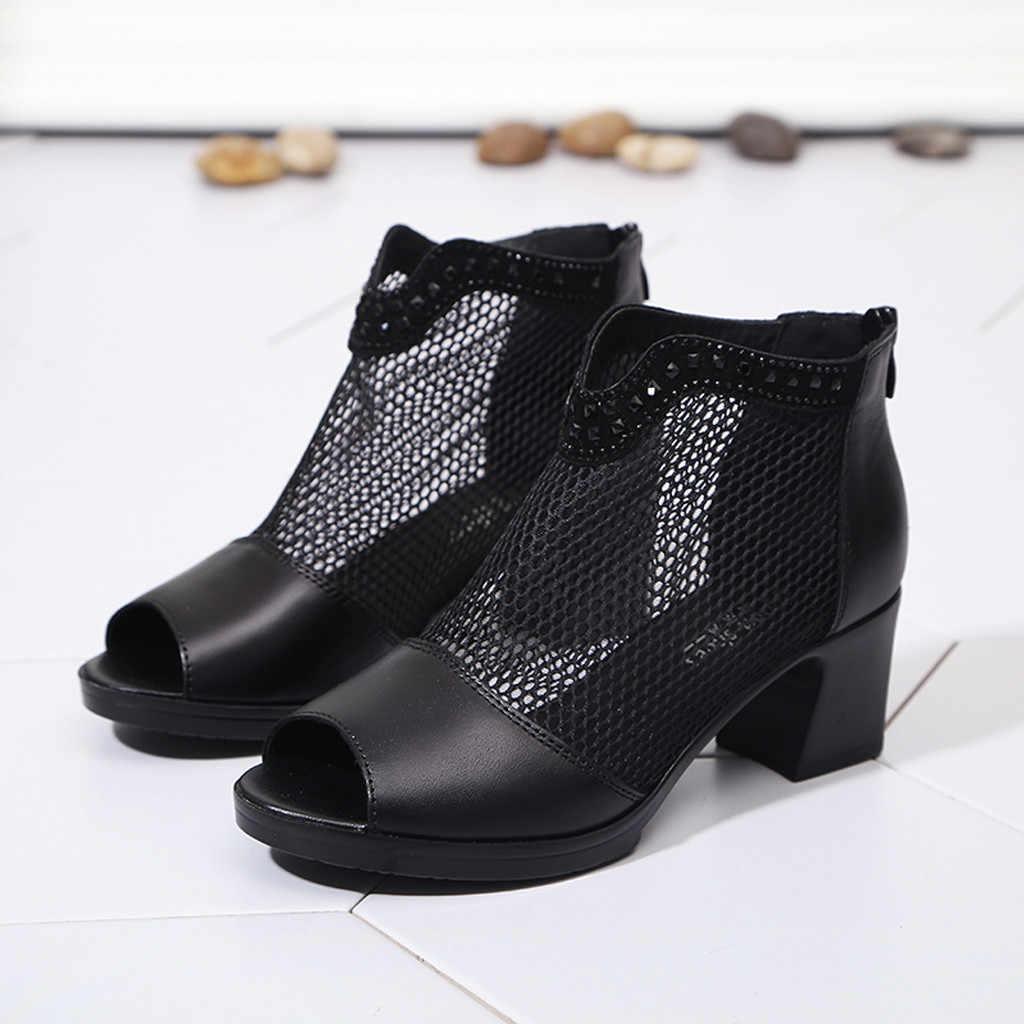 Peep-Toe รองเท้าแฟชั่นผู้หญิง Momens เปิดนิ้วเท้ารองเท้าส้นสูงรองเท้าผู้หญิงด้านล่างนุ่มซิปปลาปากรองเท้าแตะข้อเท้ารองเท้าสำหรับผู้หญิง