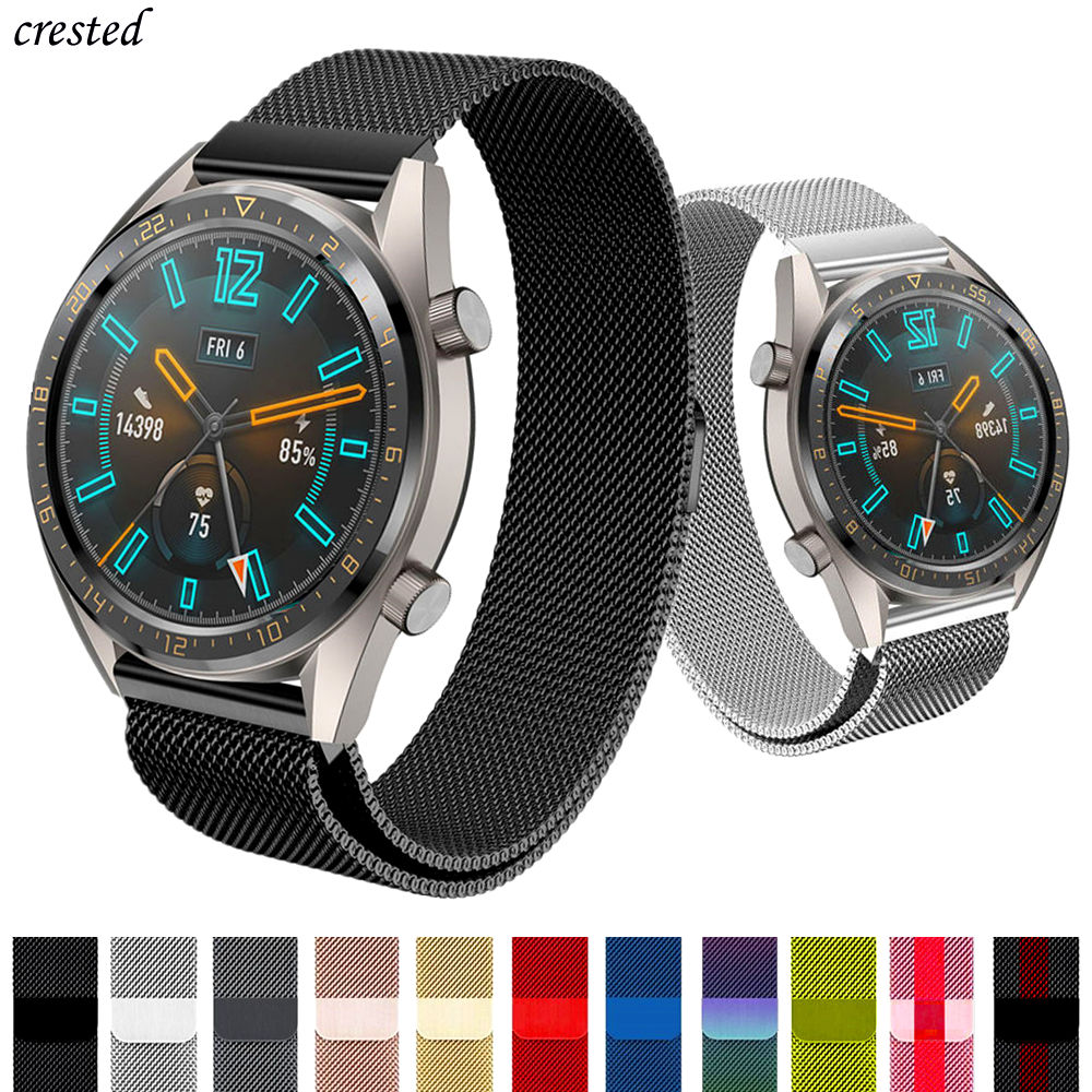 Huawei Watch GT 2 Strap For Samsung Galaxy Watch 46mm/42mm/Active 2 Stainless Steel Milanese Loop Bracelet Gear S3 Frontier Band