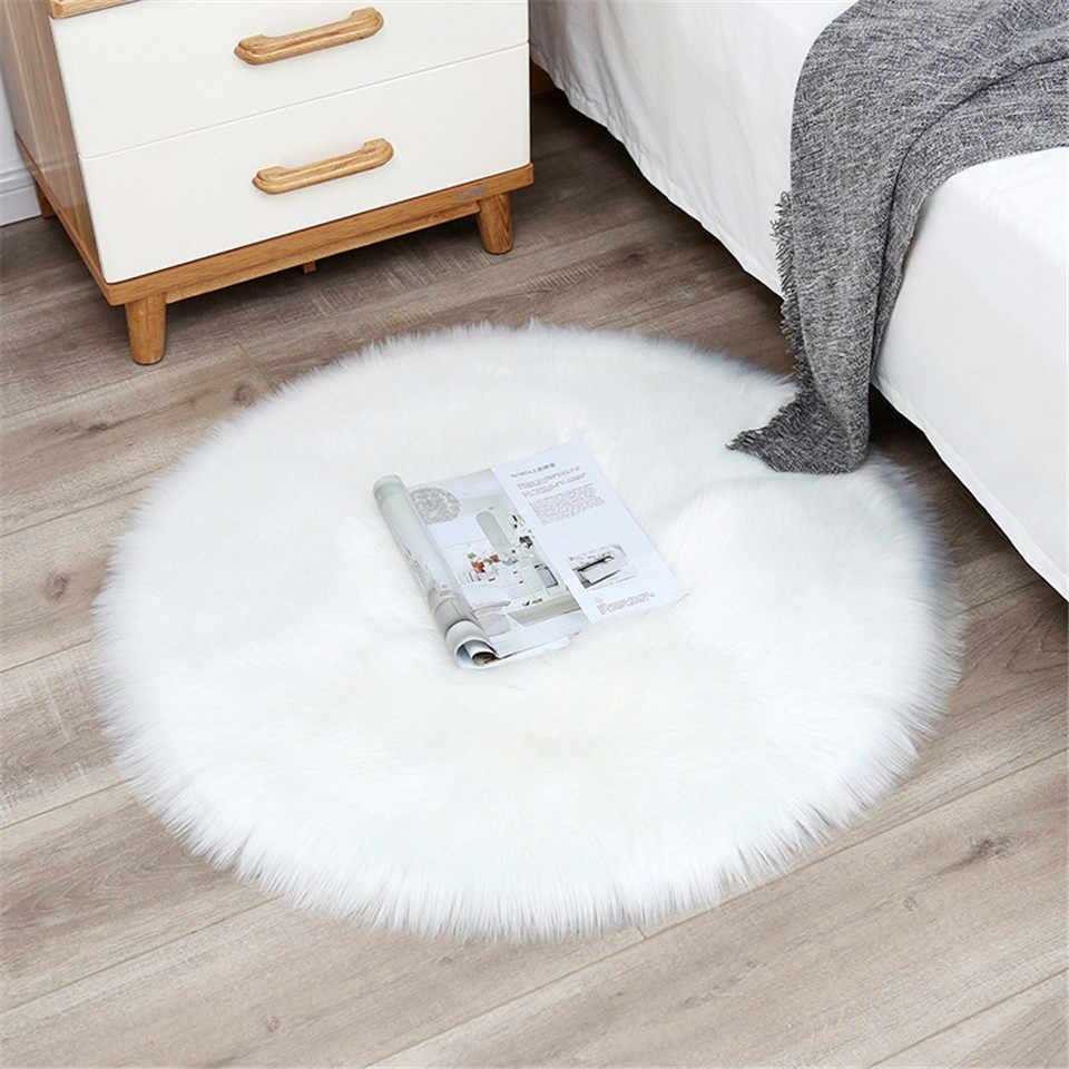 grand tapis rond blanc pelucheux en fourrure en laine artificielle douce en peau de mouton pour chambre a coucher salon