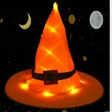 4 piezas naranja brillante bruja sombrero Halloween fiesta rendimiento adulto bruja sombrero Halloween disfraz cabeza-desgaste Cosplay fiesta Accesorios