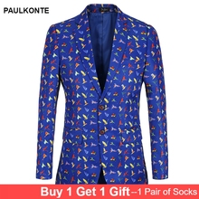 PAULKONTE 2019 Floral Blazer Mens Slim Fit Printed Vintage Luxury Brand design Suits Blazers Casual Suit Jacket Men