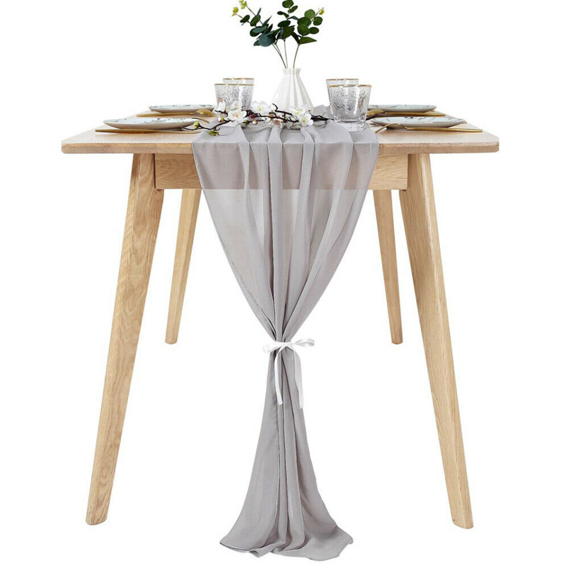 305*30cm Soft Chiffon Table Runner Tablecloth Wedding Christmas Party Home Decor