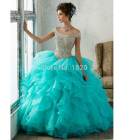 Turquoise 2019 Quinceanera Dresses Ball Gown Off The Shoulder Tulle Ruffles Beaded Crystals Cheap Sweet 16 Dresses