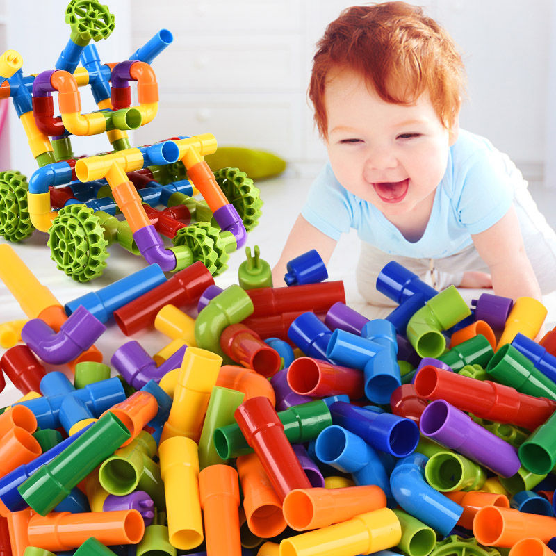 Hot Color Water Pipe Building Blocks With Car Children DIY Assembling Pipeline Tunnel Model Kids Toys Compatible Big Blocks