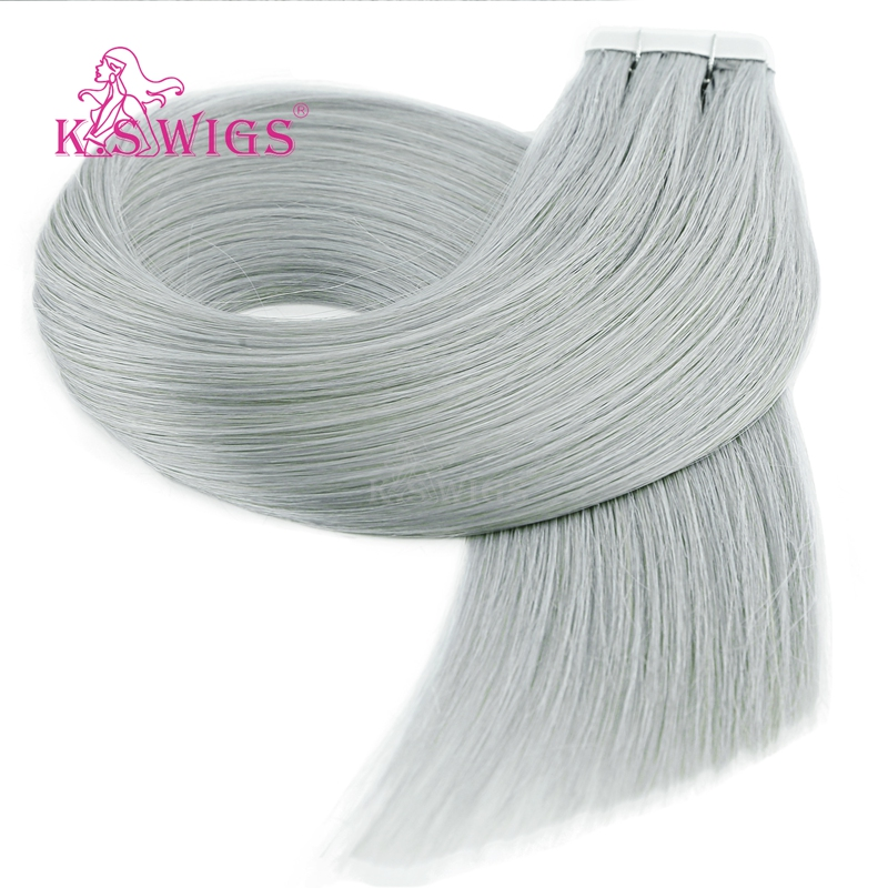 K.S WIGS 16'' 20'' 24'' Straight Remy Human Hair Grey Color Double Drawn Skin Weft Tape In Hair Extensions