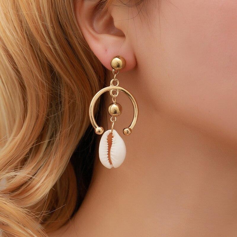 Modyle Simple Sea shell Women Round Beach Drop Earrings Bohemian Shell Jewelry Elegant Fashion 1Pair Summer Holiday