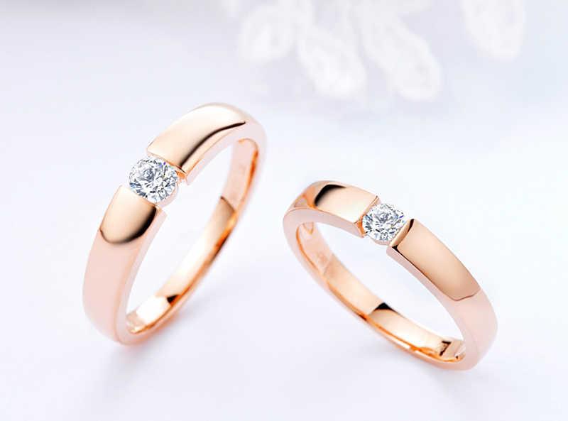 Yanhui com certificado 925 prata jóias 1.0ct zircon anéis de noivado para amante cor de ouro anel de casamento para homem e mulher r16