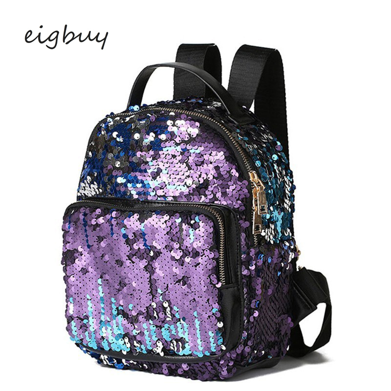 Female Fashion Small Backpacks Bagpack Glitter Backpack Women Silver Sequin Teenagers Girls Pu Leather Back Pack Bag