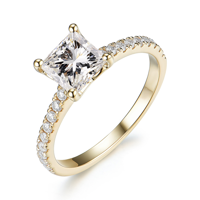 Kuololit 585 14k 10k 1.5ct moissanite anel para as mulheres princesa corte vvs solitaire anel para noivado nupcial promessa aniversário 4