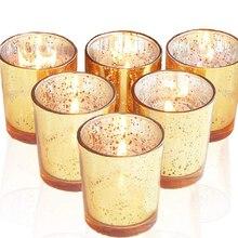 12 Pcs ins Candle Stick Decoration Spot Gold Decorative Glass DIY Wedding Candlestick Cup Jar