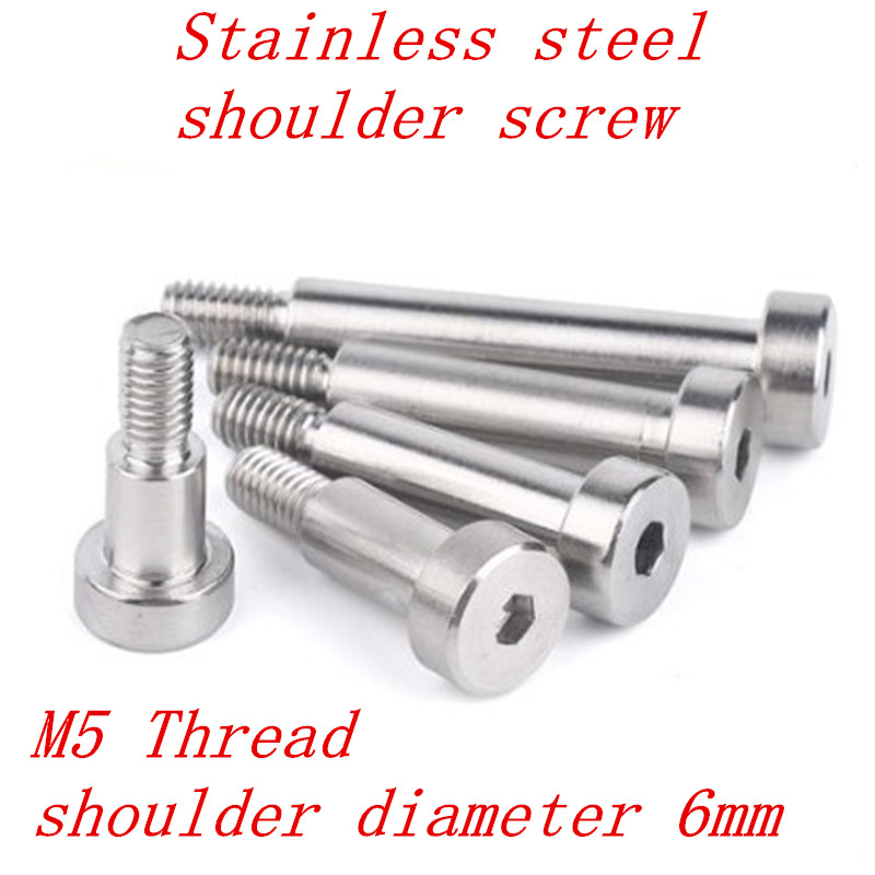 10pcs m5 thread  6mm shoulder diameter stainless steel hex socket shoulder screw length 5/6/8/10/12/16/20/25/30/35/40/45/50/60mm