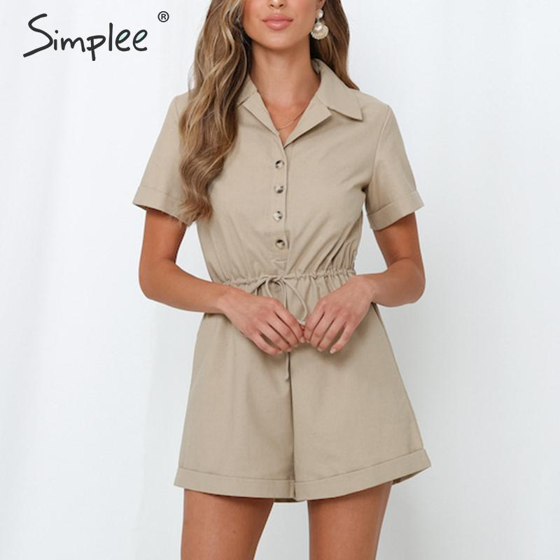 Simplee Button V-neck Short Jumpsuit Romper Women High Waist Lace Up Streetwear Female Playsuit Casual Office Ladies Playsuits