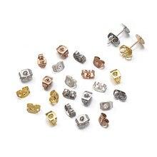 100 pçs brincos de aço inoxidável voltar plug 6x4.5mm ouro/prata cor borboleta clipes brinco porcas rolha para diy jóias fazendo