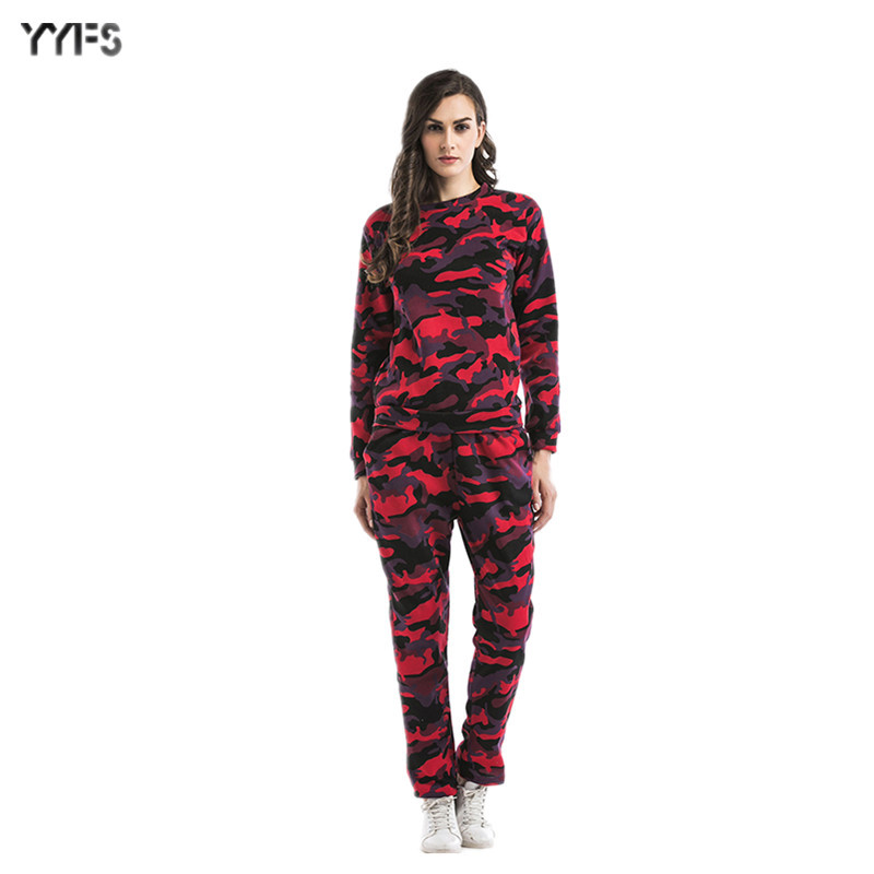 2019 Large Size Dress Autumn And Winter Camouflage Set Two-Piece Set Plus Velvet Round Neck Sweater Trousers Sports Coat Women's