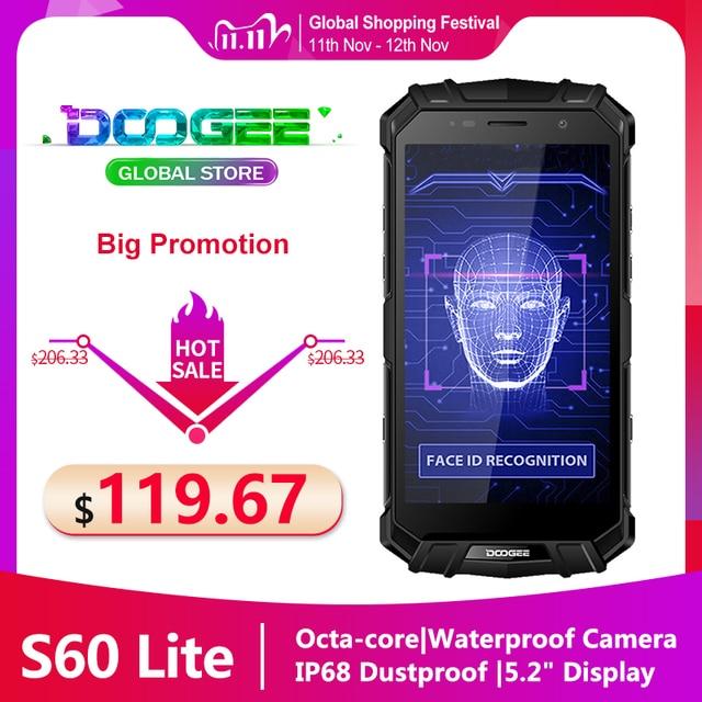 Szybka wysyłka DOOGEE S60 LITE wytrzymały telefon IP68 wodoodporny pyłoszczelny bezprzewodowy telefon komórkowy 5580mAh 4GB 32GB NFC Smartphone
