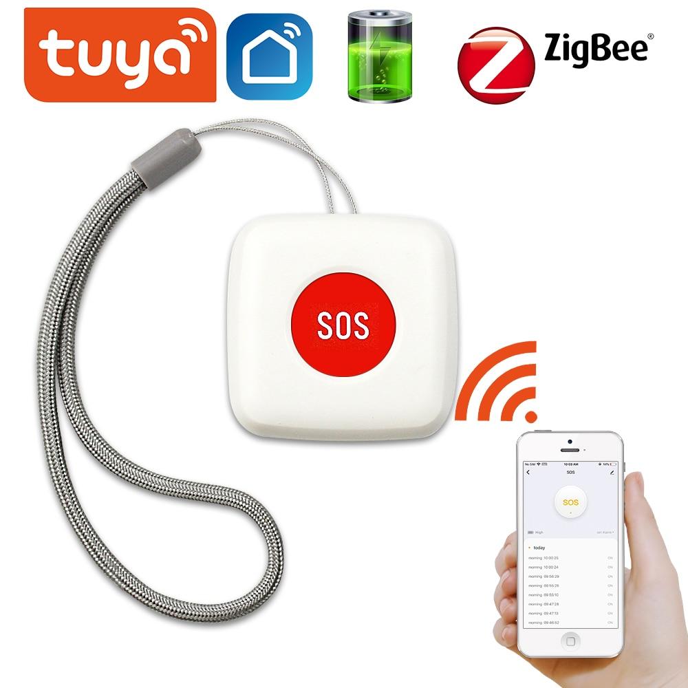 TUYA ZigBee SOS Button Sensor Alarm Elderly alarm Waterproof Emergency Help Alarm Switch Work with Tuya Zigbee hub Smartlife App
