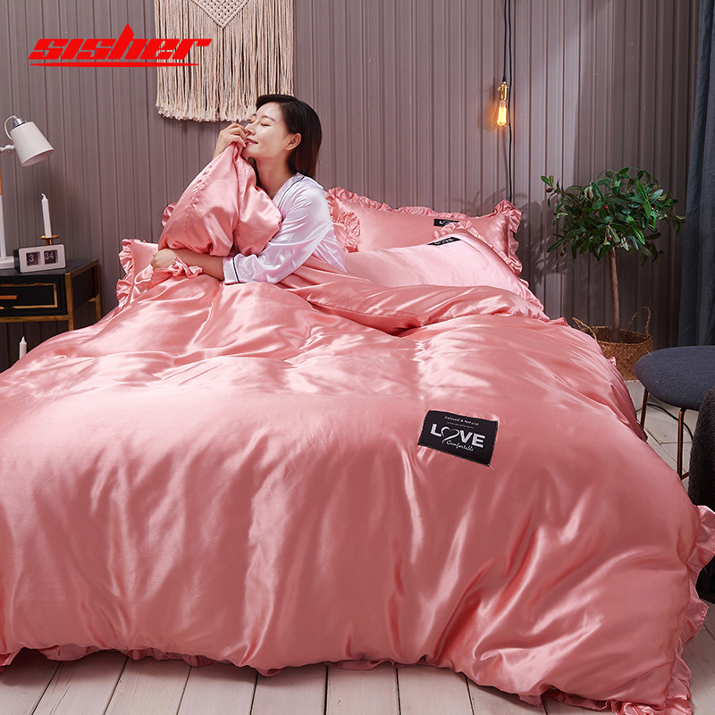 Sisher Solid Color Satin Luxury Silk Duvet Cover 4pcs Double Queen King Size Flat Sheet Quilt Covers Sets Bedclothes Bed Linen