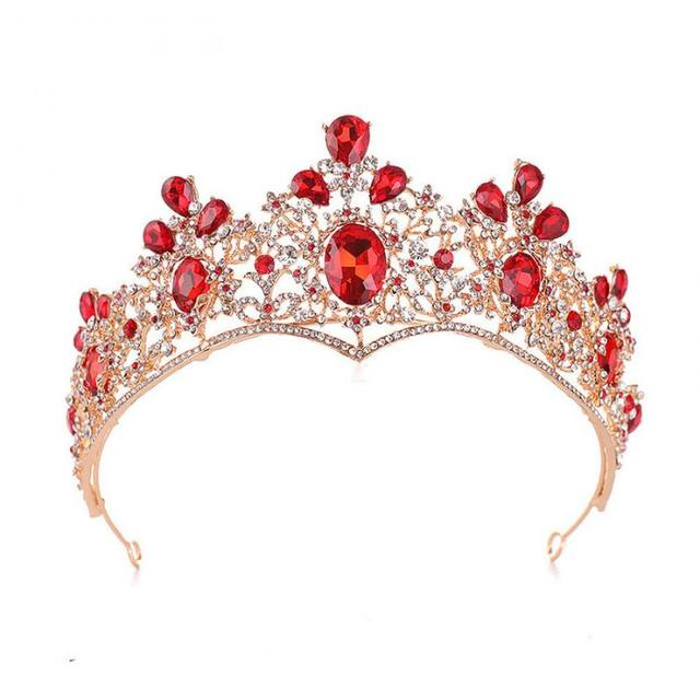 Mariage mariée cheveux accessoires cristal eau foret couronne rouge larmes couronne diadème beauté reconstitution historique