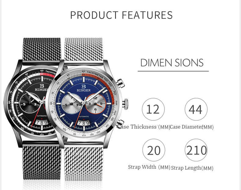 Suisse marque BINGER montre automatique pour hommes en acier inoxydable montres-bracelets mode mécanique horloge relogio masculino 2019