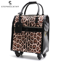 SC Luggage Travel Bags Large Modern Leopard Pu Leather Overnight Trolley Bag Ladies Wheel Duffle Flight Suit Hand Carry Bags