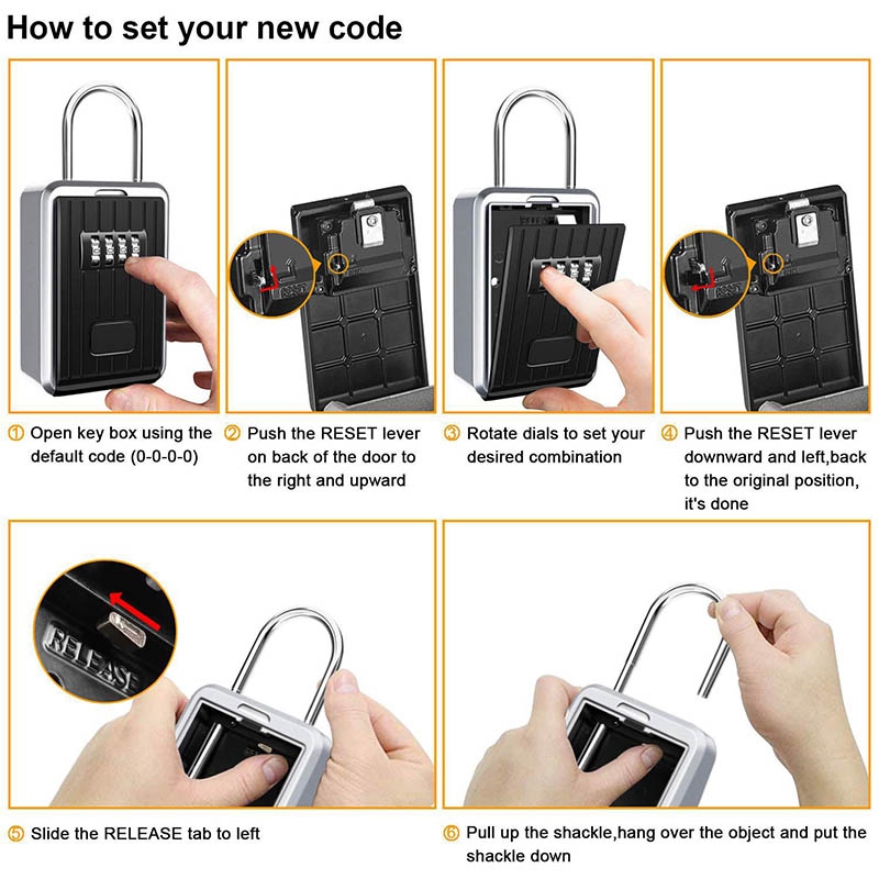 Key Storage Lock Box With 4-Digit Combination Hanging Key Safe Box For Indoor Outdoor @M23
