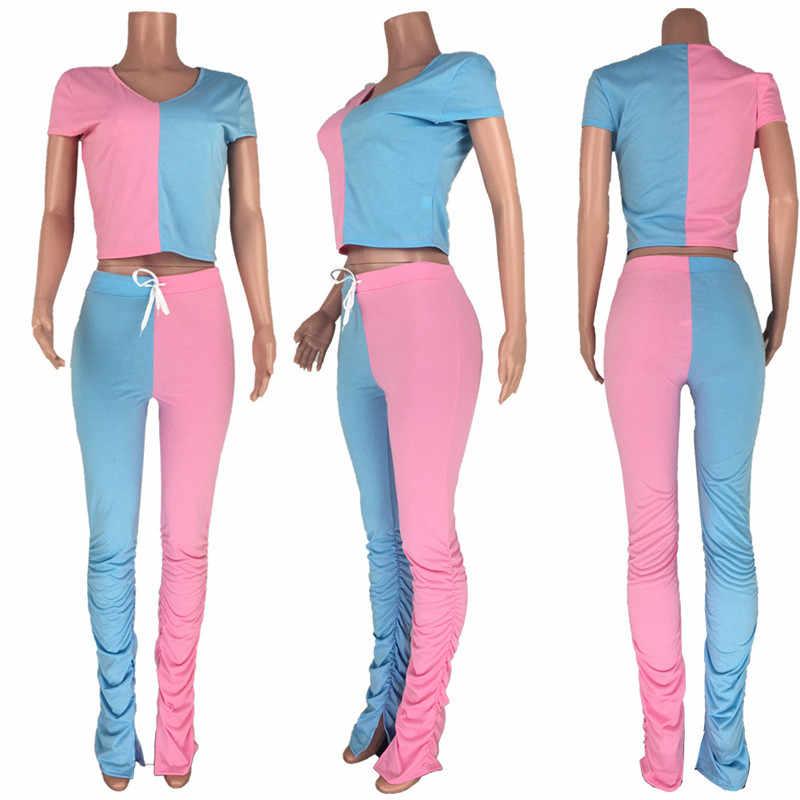 צבע בלוק טלאי שתי חתיכה להגדיר נשים קיץ בגדי סטים תואמים יבול למעלה מוערם Ruched מכנסיים ספורטיבי אימונית אצן