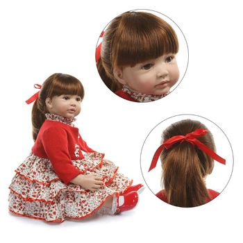 60cm Reborn Doll Realistic Silicone Vinyl Newborn Babies Toy Girl Princess Clothes Lifelike Handmade Birthday Gifts Y4QA