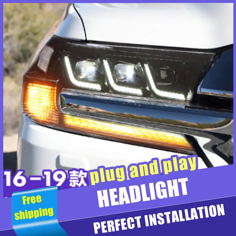2 pièces voiture Style LED phares pour Toyota Land Cruiser 17-19 pour lampe frontale LED DRL lentille Double faisceau H7 caché xénon bi xénon lentille