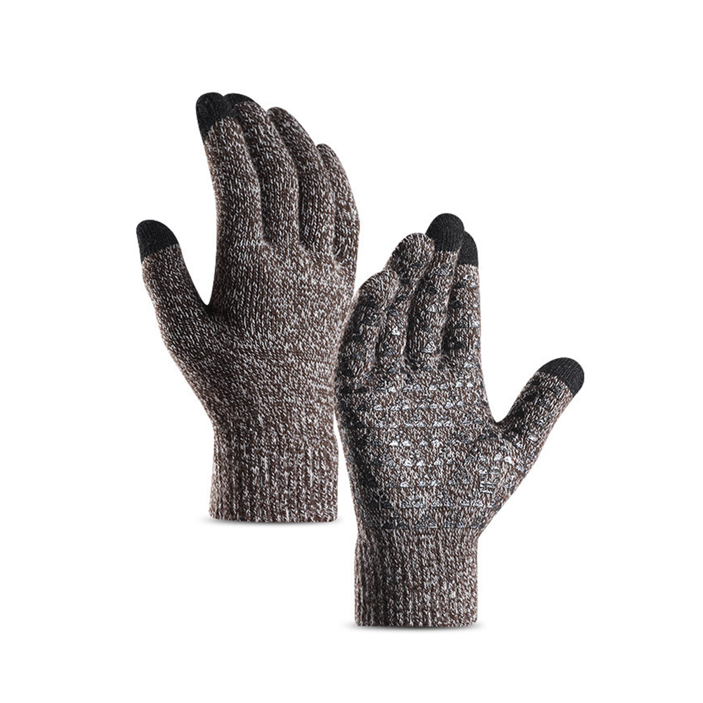 Men Women Windproof Outdoors Full Finger 1 Pair Breathable Elastic Cuff Warm Winter Gloves Anti Slip Soft Cycling Knitted Screen