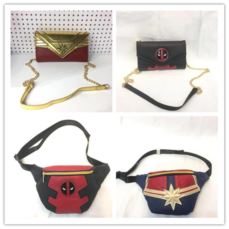 Marvel Film Captain Marvel Deadpool Peripheral Embossed Coin Purse Game Machine Wonder Woman PU Shoulder Bag Gift