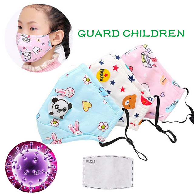 3PCS PM2.5 Cotton Children Mouth Mask FFP2 Dust Mask Activated Carbon Filter With Breath Valve Windproof FFP3 Flu Face Masks