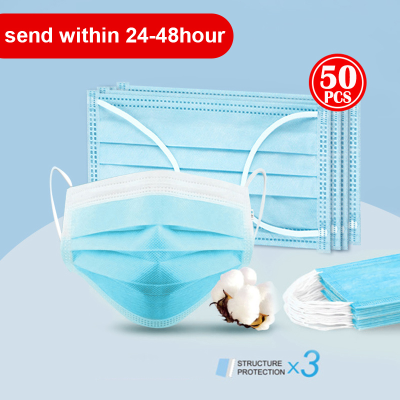 Disposable Masks 50 Pcs Mouth Mask 3-Ply Anti-virus Anti-Dust Pk FFP3 KF94 N95 Nonwoven Elastic Earloop Salon Mouth Face Masks